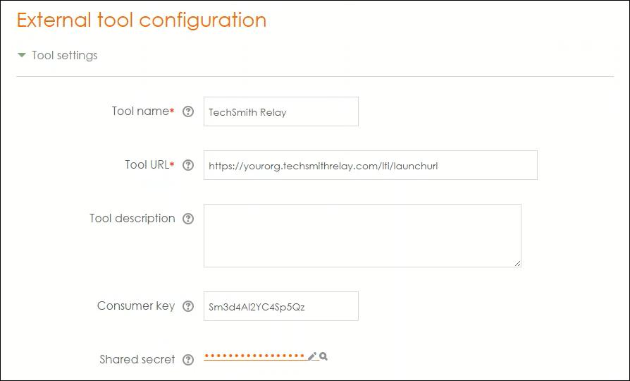 Screenshot of Moodle External tool configuration options