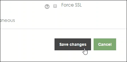 Screenshot of the Save Changes button