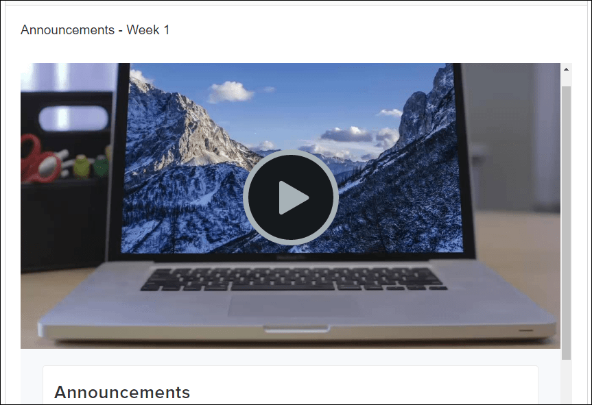 Canvas embedded video preview