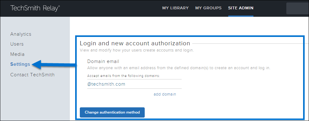 Arrow pointing to Settings option. Rectangle outlining the Login and new account authorization section