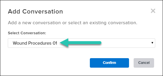 Screenshot of the Add Conversation modal window