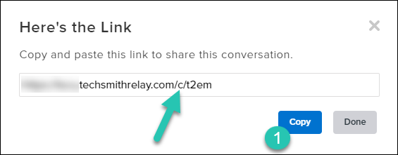 """Screenshot of the """"Here's the link"""" modal window with the Copy button highlighted"""