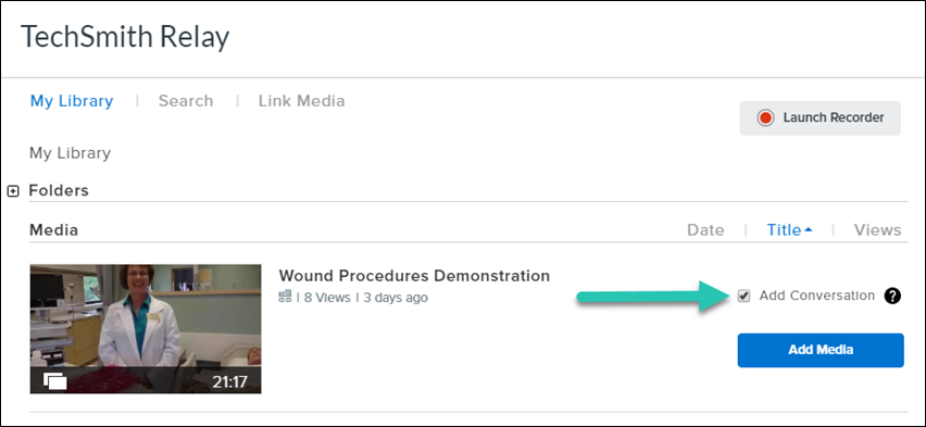 Screenshot of adding a video in an LMS, with the Add Conversation checkbox checked