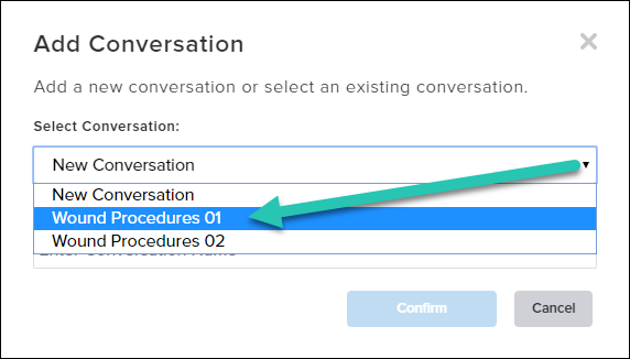 Screenshot of the Add Conversation modal window, with one conversation name selected