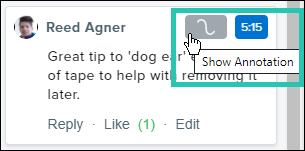 Screenshot of a comment, with the show/hide annotation button highlighted