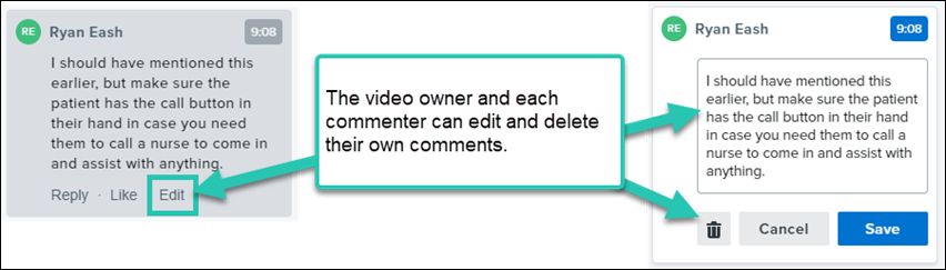 Screenshot of the option for editing or deleting your own comments