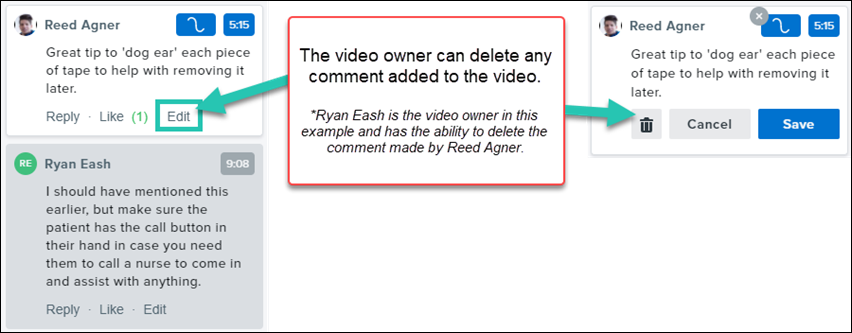 Screenshot of the options for editing or deleting comments that have been made by others on a video you own