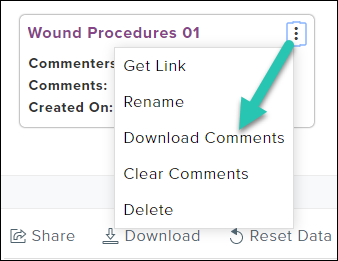 Screenshot of the Download Comments option for a conversation