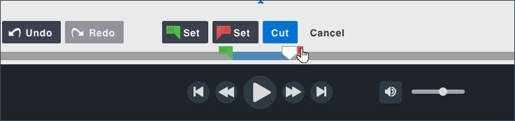 Timeline selection with both handles and buttons displayed