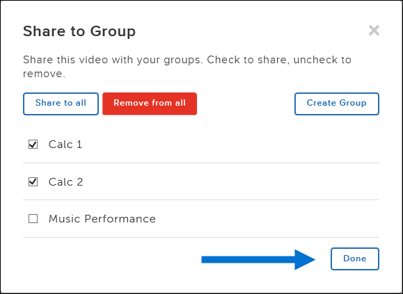 arrow pointing to Done button in Share to group dialog