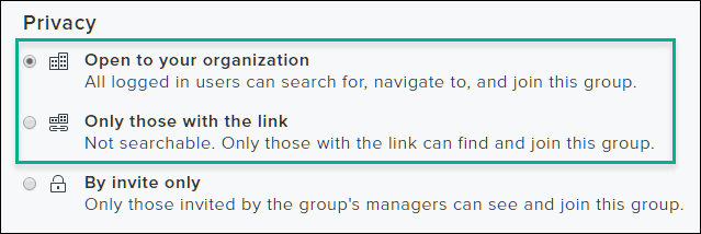 Screenshot of group privacy settings with the first two options highlighted