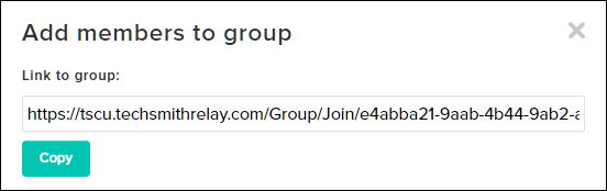 Add members to group modal window with Link to group highlighted