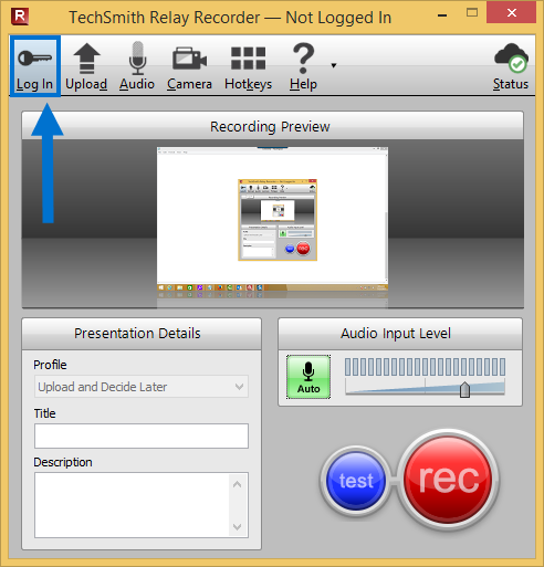 arrow pointing at Relay recorder Log In button