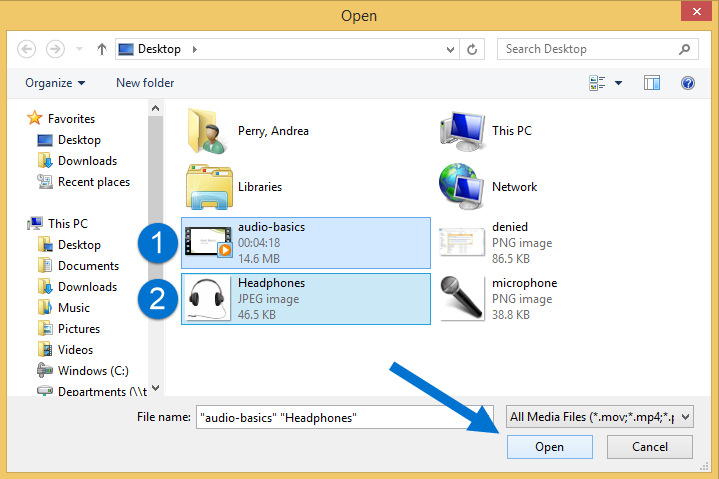 files highlighted in Windows Explorer, arrow pointing at Open button