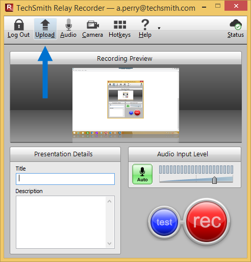 arrow pointing at the Upload button in the Relay recorder