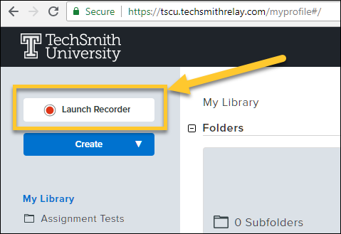 Screenshot of the TechSmith Relay website with the Launch Recorder button highlighted