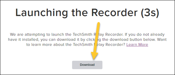 Screenshot of the Launching the Recorder screen with the Download button highlighted