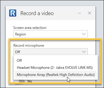 Microphone selector dropdown menu