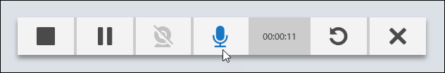 TechSmith Relay Recorder controls with mouse over Microphone icon