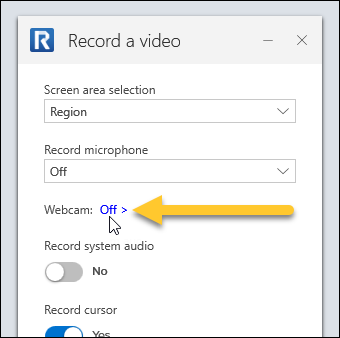Webcam selection option