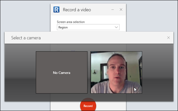 Webcam previews in the TechSmith Realy Recorder