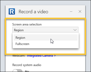 Choosing a screen are selection option