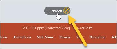Fullscreen button at the top of a computer screen'