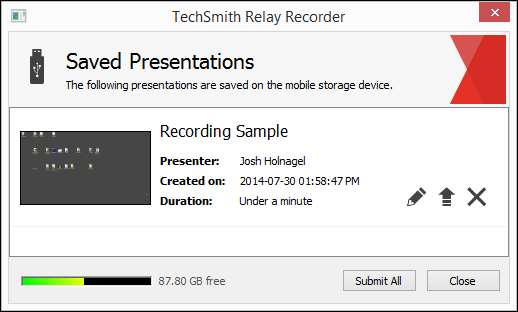 Portable Recorder Saved Presentations dialog