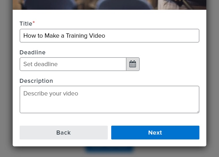 Upload modal window with deadline and description fields