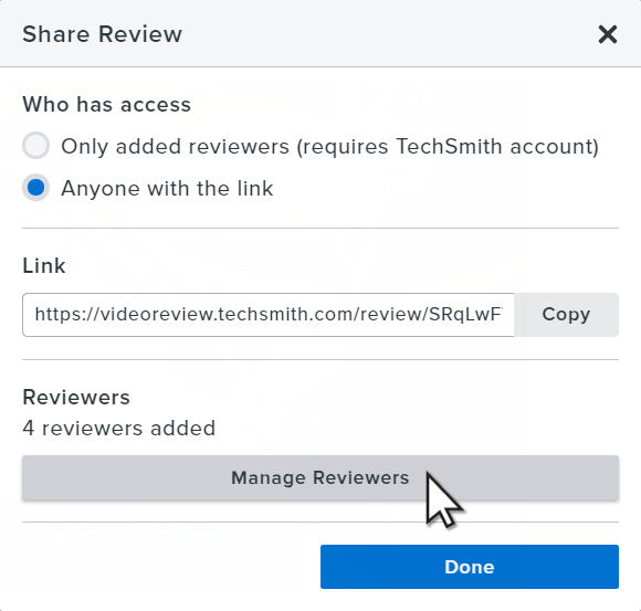 Click Manage reviewers button