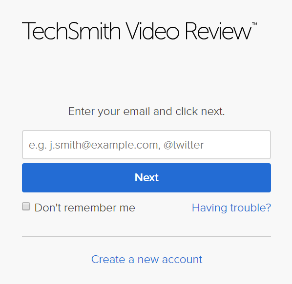Video review sign in page