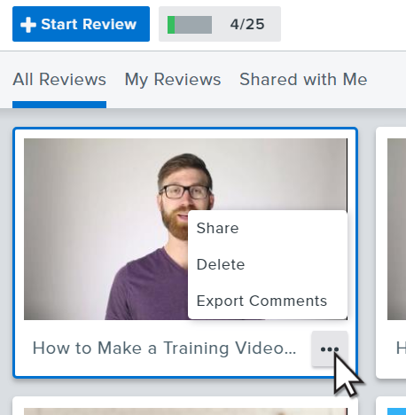 Video review tile with the