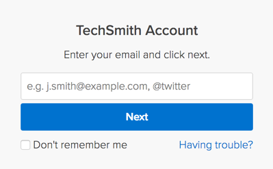 sign in dialog for TechSmith Account