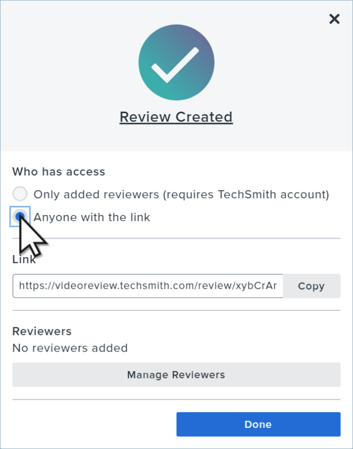 The manage reviewers modal window