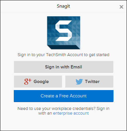 Snagit sign-in screen