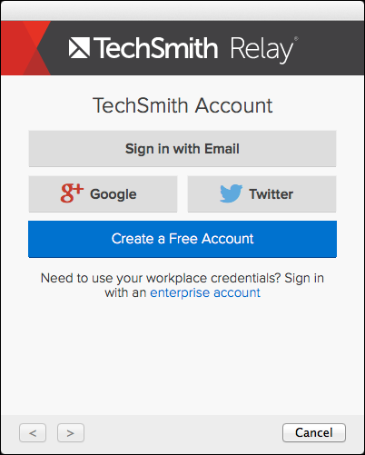 TechSmith Account sign-in screen