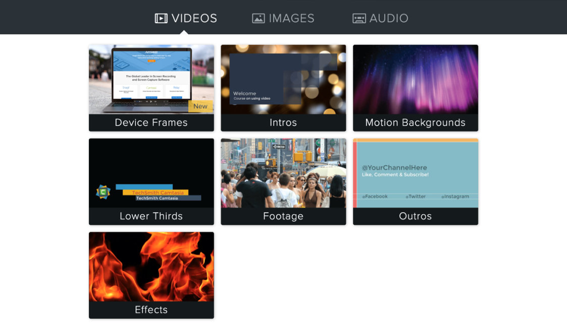 Stock footage and effects, as well as customizable video templates.
