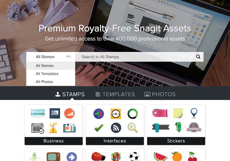 Unlimited access to over 400,000 professional assets for Snagit