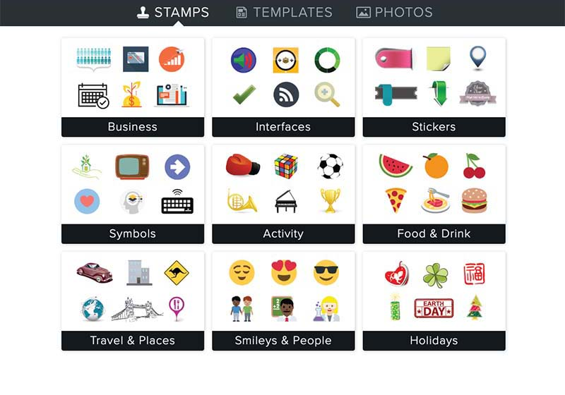 Unique collection of stamps and icons to add to your images