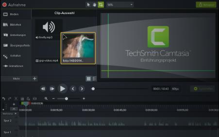 Importieren Sie Ihre eigenen Videos, Fotos und Präsentationsfolien.