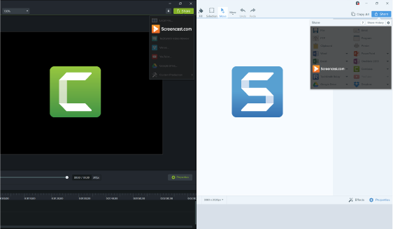Upload content directly from Snagit or Camtasia in one click