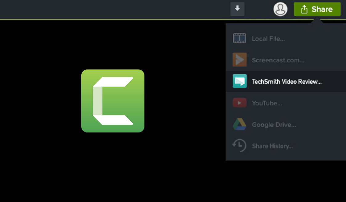 Share videos directly from Camtasia